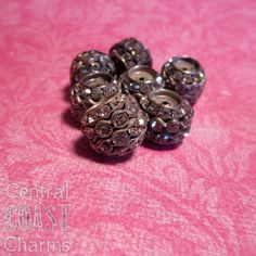 Aged Silver Czech Crystal Rhinestone Stacked Rondelle Barrel Bead - 15mm x 13mm - Vintage Shabby Style - 10pcs - Central Coast Charms