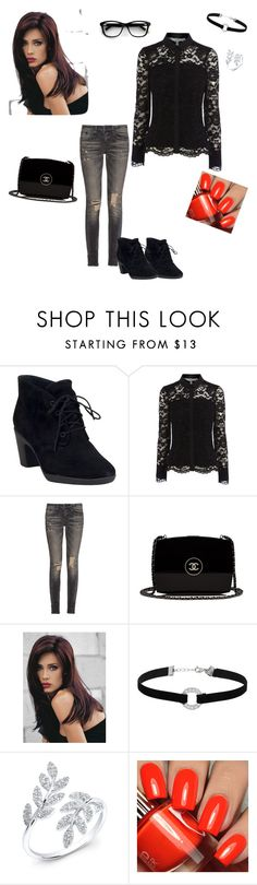 """""""Black look"""" by laetitia-sweeti ❤ liked on Polyvore featuring мода, Clarks, R13, Chanel, Revlon и Miss Selfridge"""