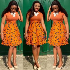 Orange Ankara is one of the fashion trend to stimulate the power of warmth and happiness this season. This is the must have color for the season. An orange