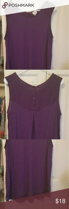Sleeveless top Plum tank with buttons down the back, silky material around the top and hem Merona Tops Tank Tops