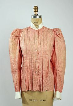 Printed pink shirtwaist with white collar and cuffs, American, 1896-98.