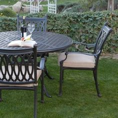 Palazetto Milan Collection Cast Aluminum Patio Dining Set - Seats 4 - contemporary - patio furniture and outdoor furniture - Hayneedle