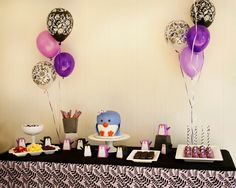 Purple, black & white penguin themed birthday party!