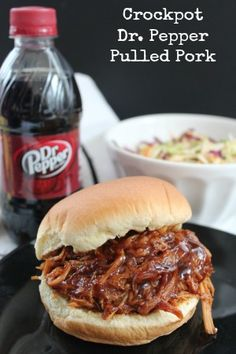 This crockpot pulled pork recipe gets a nice twist from the Dr. Pepper and will quickly become a family favorite! Bbq Pulled Pork Crockpot, Slow Cooker Pork Bbq, Easy Pulled Pork, Crock Pot Bbq Pork, Pulled Pork Loin, Crockpot Pork Recipes, Easy Pork Recipes, Best Pulled Pork Recipe, Pulled Pork Bbq Sauce