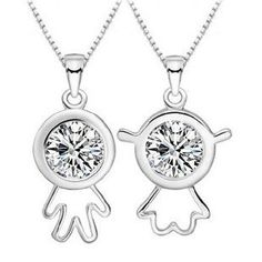 Silver His and Hers Lovers Necklaces