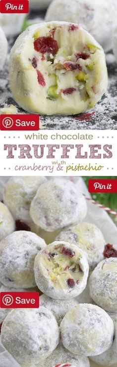 Cranberry Pistachio White Chocolate Truffles - Ingredients Vegetarian Gluten free Produce 1/3 cup Cranberries dried Baking & Spices 1 tsp Orange or vanilla extract 1/3 cup Powdered sugar 1 pinch Salt 11 oz White chocolate - chopped into small pieces Nuts & Seeds 1/3 cup Pistachio toasted Dairy 5 tbsp Butter unsalted 3 tbsp Heavy cream