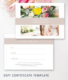 Photography Gift Certificate Template - Gift Card Templates - Photo Marketing - Digital Design Files - Photoshop Templates by ByStephanieDesign on Etsy