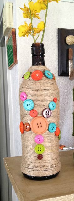 Yarn wrapped Bottle with Buttons Yarn Bottle Button Bottle