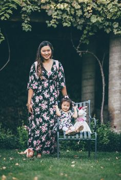 Mommy and me style: Black Floral dresses