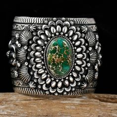 Royston Turquoise Bracelet in Sterling Silver by Navaho artist Darryl Becenti