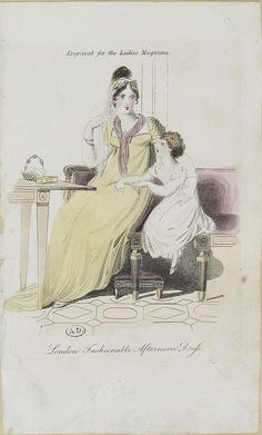 English fashion plates from and French fashion plates from Year 10 of the French Republican Calendar. All images come from the collection of the Bibliothèque des Arts Décoratifs. Regency Dress, Regency Era, English Fashion, French Fashion, Jane Austen, 1800s Fashion, Vintage Fashion, Yellow Ballgown, Fashion Painting