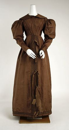 1825 ca.   Pelisse, European, Front View.   Brown silk.  High-waisted, round collar, decorated bodice, leg-of-mutton sleeves, tassels to decorate front opening.   metmuseum.org                          suzilove.com