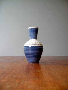 Vintage Elle Norway Ceramic Vase - Cobalt and White