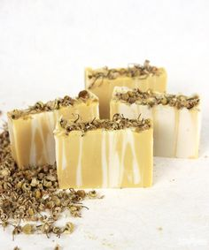 Yellow Chamomile Cold Process Soap. Made with cheery yellow oxide and calming Chamomile Bergamot Fragrance Oil, this Yellow Chamomile Cold Process Soap features a unique vertical stripe.