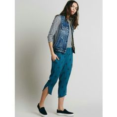 LAST CHANCE! Free People Harem Pants Sz M (FIT VERY OVERSIZED...I RECOMEND FOR SOMEONE WHO NORMALLY WEARS A LARGE). Dark Blue and black. New in packaging. Free People Pants