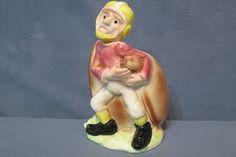 "Vintage E.O. Brody Painted Ceramic Football & Player Planter #05074 Japan 6 1/4"" #EOBrodyCo #PlanterFootballPlayer"