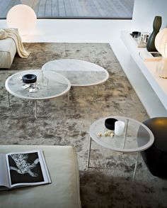 shop@coro.it   Taffy - Coffee table, screenprinted glass in the colours white, black, grey and cement. Lacquered metal legs.