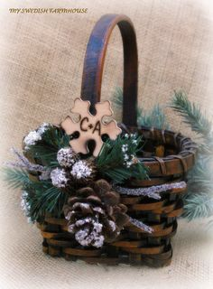 Flower Girl Basket Rustic Winter Wedding by MinSvenskaLandgard, $30.00