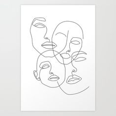 Messy Faces Art Print by Explicit Design - X-Small Minimalist Drawing, Minimalist Art, Face Line Drawing, Drawing Faces, Art Visage, Abstract Face Art, Abstract Drawings, Outline Art, Line Art Design