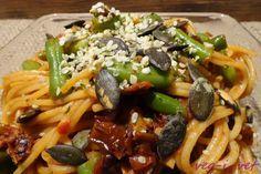 veg-i-vet: Špagety se sušenými rajčaty a zelenými fazolkami