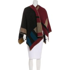 Pre-owned Burberry Prorsum Wool & Cashmere Poncho ($895) ❤ liked on Polyvore featuring outerwear, pattern prints, multi colored poncho, cashmere ponchos, style poncho, tan poncho and woolen poncho