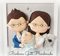 Inspiruje Basia: portret rodzinny - Inspirations from Basia: family portrait Felt Fabric, Fabric Dolls, Felt Crafts Patterns, Felt Wreath, Fabric Pictures, Felt Decorations, Lol Dolls, Patch Quilt, Felt Diy