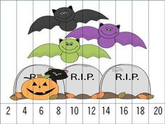 Halloween Puzzles Skip Counting by 2's, 5's and 10's. $