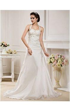 A-line Halter Court Train Taffeta Wedding Dress