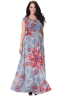 Plus Size Blue Silk Floral Print Full Length Boho Summer Dress - iDreamMart.com