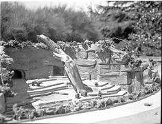 Model of Woodland Park Zoo bear grotto, 1949 Woodland Park Zoo, Washington State, Seattle, Bear, Digital, Model, Collection, Scale Model