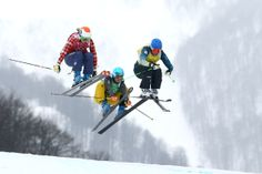 Sami Kennedy-Sim of Australia leads from Georgia Simmerling of Canada and Anna Woerner of Germany in the Freestyle Skiing Womens' Ski Cross Finals on day 14 of the 2014 Winter Olympics at Rosa. Get premium, high resolution news photos at Getty Images Freestyle Skiing, Winter Olympics, Georgia, Womens Ski, Canada, Australia, Germany, Image, Finals