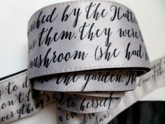Image of Printed Satin Belt/Siver Gray Original Bow Wrap Sash/Alice in Wonderland Text
