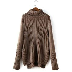 Yoins Brown Chunky Roll Neck Sweater (2.270 RUB) ❤ liked on Polyvore featuring tops, sweaters, brown, ribbed top, loose fitting sweaters, ribbed sweater, loose fitting tops and cowl neck top