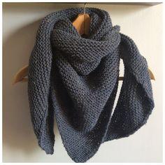 Chèche pour homme en laine tweed bleu jean : Echarpes par fleur-de-laine
