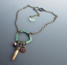 SALE Aged Verdigris Ring Talisman Necklace with Sea Glass and