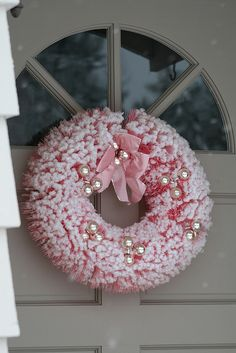 Pink bottle brush wreath