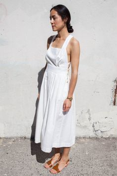 Electric Feathers Traveling Pinafore in White Cotton   Oroboro Store
