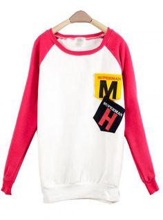 Rose Red MM Pocket Round Neck Long-sleeved Sweatshirt$39.00