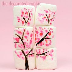 Cherry Blossom Marshmallows! Would be GREAT for a spring party or a cute spring bento!