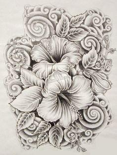 ilove-drawings: Beautiful Flower Drawings and Realistic Color Pencil ... #hawaiiantattoossleeve