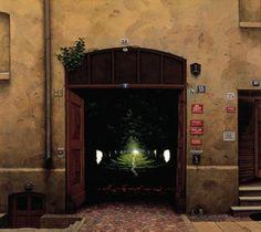 Paradise in the yard - (Jacek Yerka) #surrealism #art #artwork #oilpainting #print #symbolism #gates #paradise