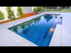 The Symphony pool is a stylish, contemporary fibreglass swimming pool. Visit Narellan Pools to get a free quote from a qualified swimming pool builder. Building A Swimming Pool, Swimming Pool Landscaping, Swimming Pool Designs, Backyard Pool Designs, Backyard Ideas, Outdoor Ideas, Landscaping Ideas, Garden Ideas, Pool Paving