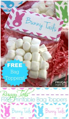 FREE Bunny Tails Bag Topper Printalbe - Easter Gift Idea for the Kids. Great Easter Party Idea and Craft found on Frugal Coupon LIving.
