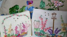 Stunning Hand Embroidered Cottage Garden by TheVintageLinenChest