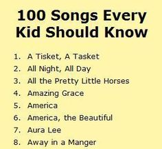 A list of 100 songs every kid should know. Do you have a list of songs your music students should know? Is this list missing one of your essential songs? Kindergarten Music, Preschool Music, Music Activities, Teaching Music, Learning Piano, Baby Learning, Choir Songs, Songs To Sing, Kids Songs