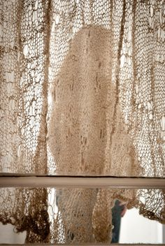 Edith mohair knit lace curtain by cowgirlblues |
