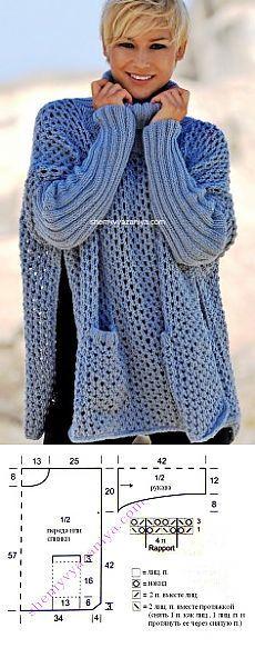 Пончо-свитер,ажурная вязка