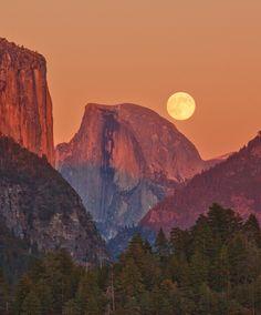 """Full Moon Rise Behind Half Dome"" Yosemite National Park. Photo by Jeff Sullivan."