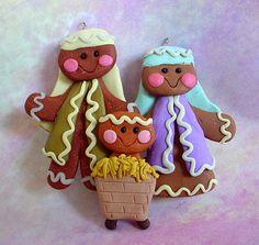 gingerbread nativity   ... /Christmas Ornament Cake Topper Gingerbread Nativity Baby Manger