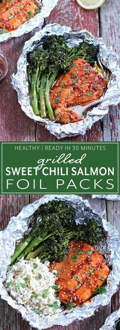 Easy and healthy sweet chili salmon and broccolini foil packs are ready in 30 minutes! This fun and tasty grilled dinner is perfect for summer nights.